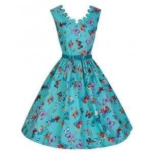Daria' Scalloped Neckline 1950s Swing Dress In But